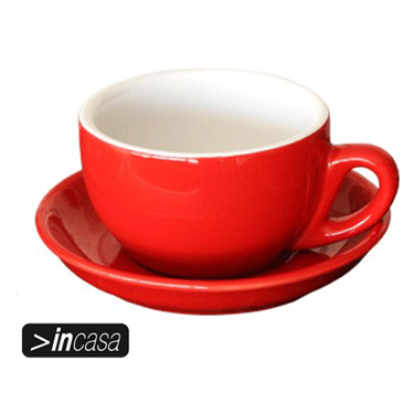 Cappuccino Cup and Saucer Set of 6 (Red)