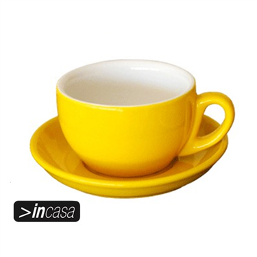 Cappuccino Cup and Saucer Set of 6 (Yellow)